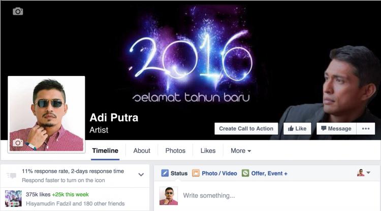 fanpage rasmi Adi Putra